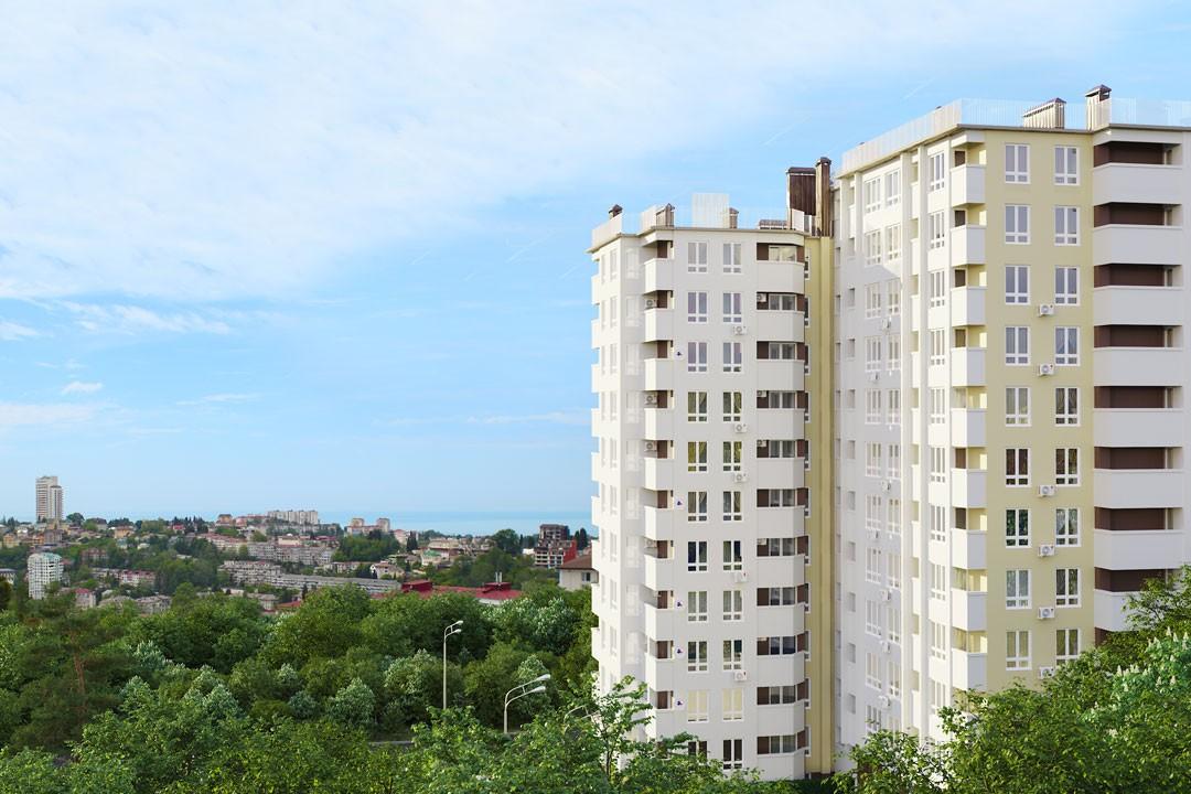 дизайн фасада жилого комплекса каскад