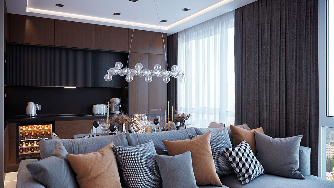 дизайн квартиры студии в современном стиле